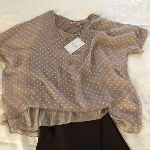 NWT Elena Baldi Silk Blouse, Made in Italy